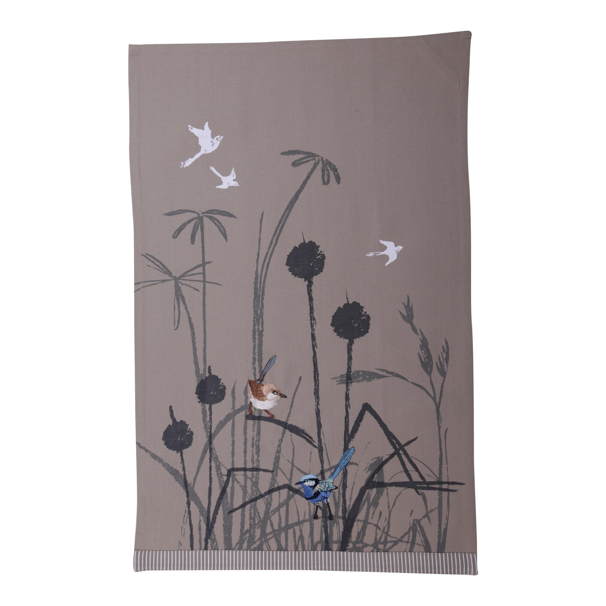 Blue Wren Grassland Tea Towel The Linen Press